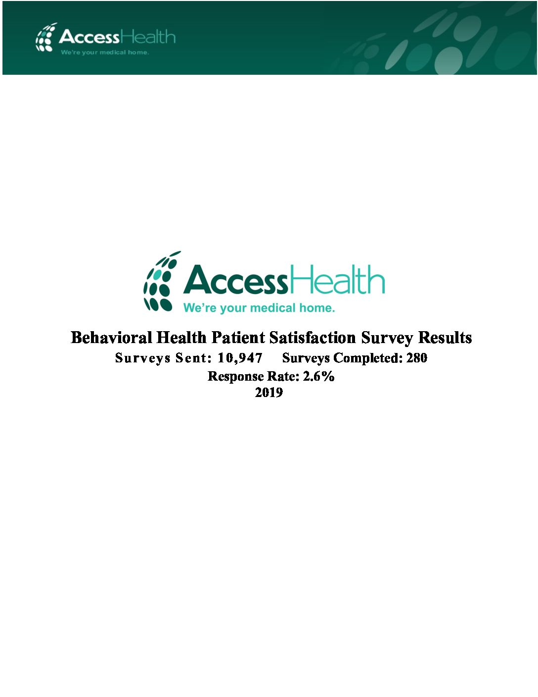 2019 Behavioral Health Patient Satisfaction Survey Results