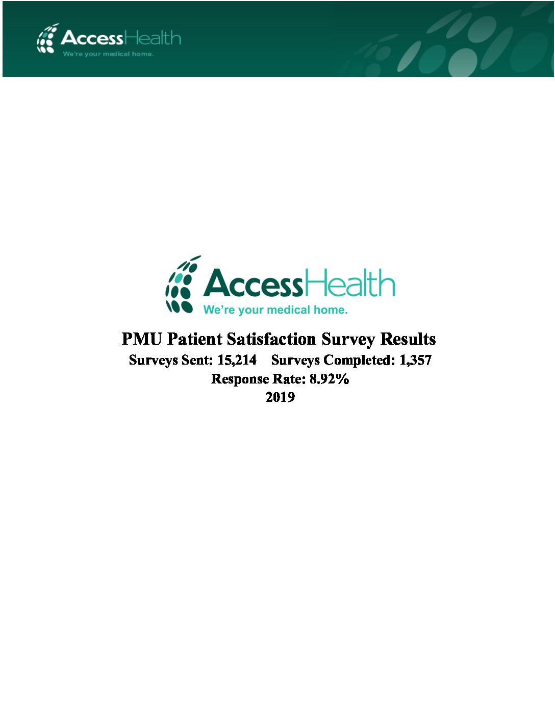 2019 PMU Patient Satisfaction Survey Results