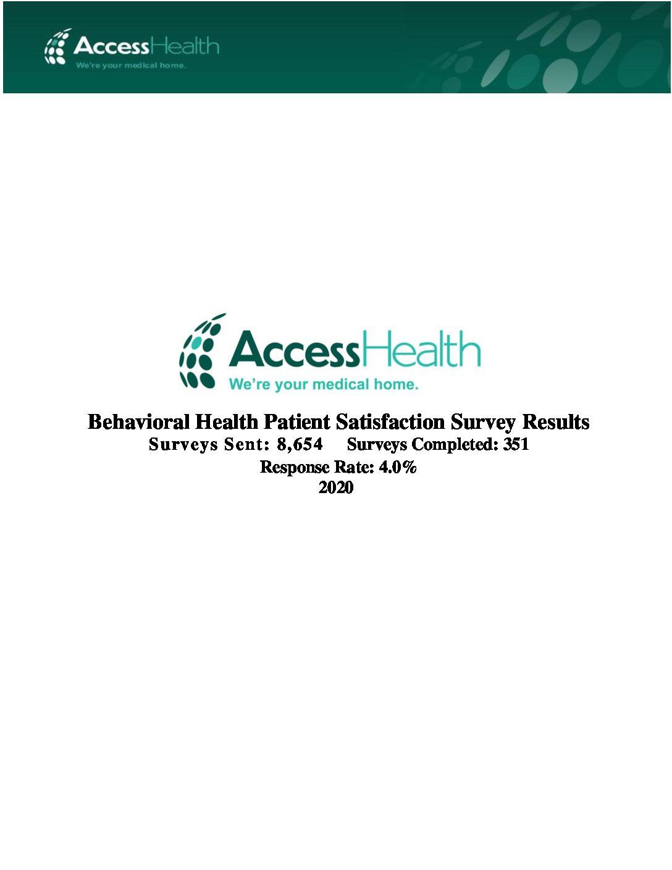 2020 Behavioral Health Patient Satisfaction Survey Results