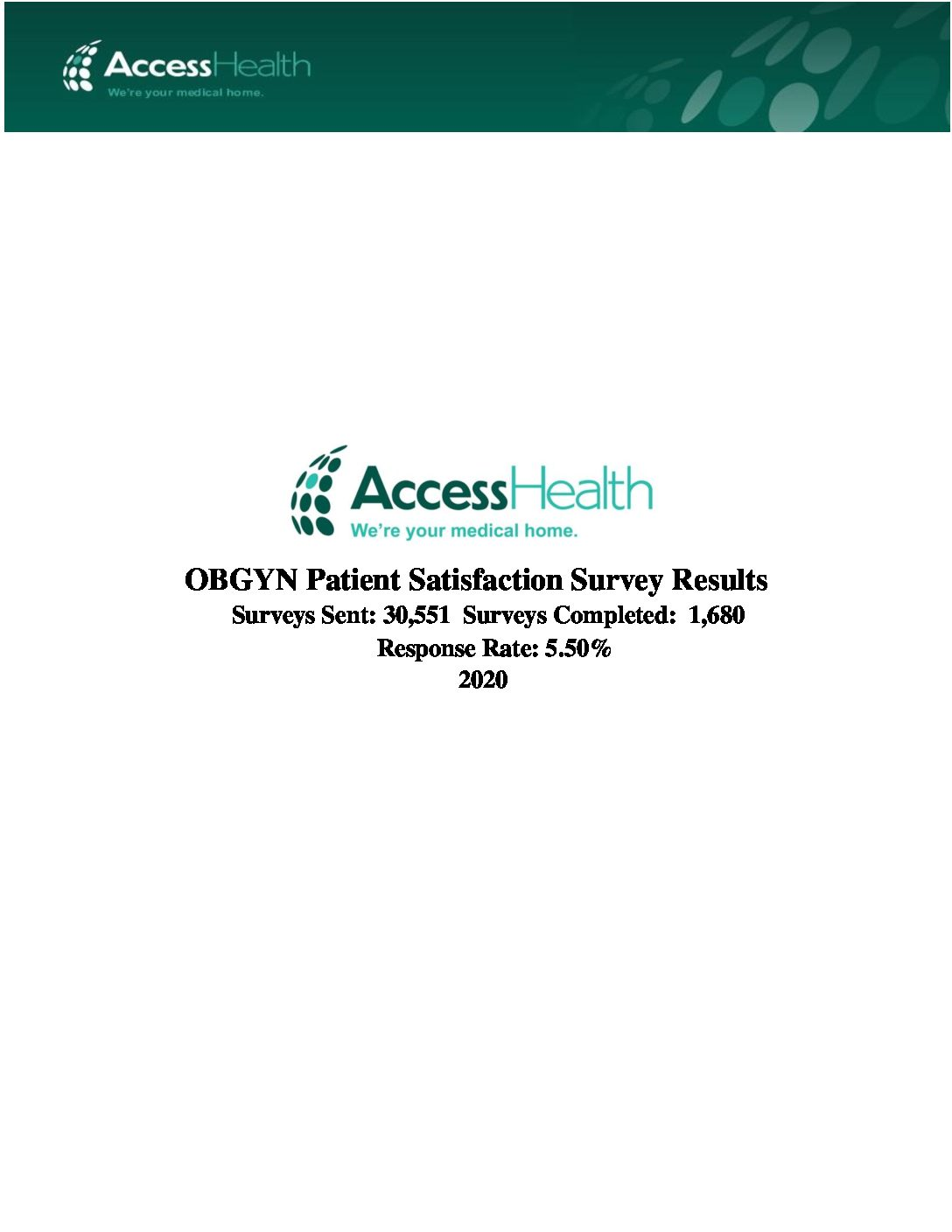 2020 OBGYN Patient Satisfaction Survey Results